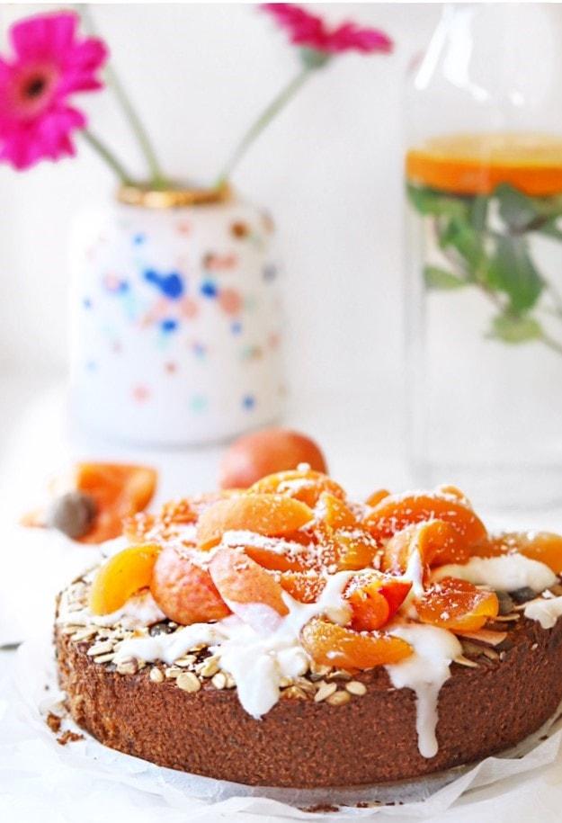 Glutenvrije ontbijttaart met abrikozen