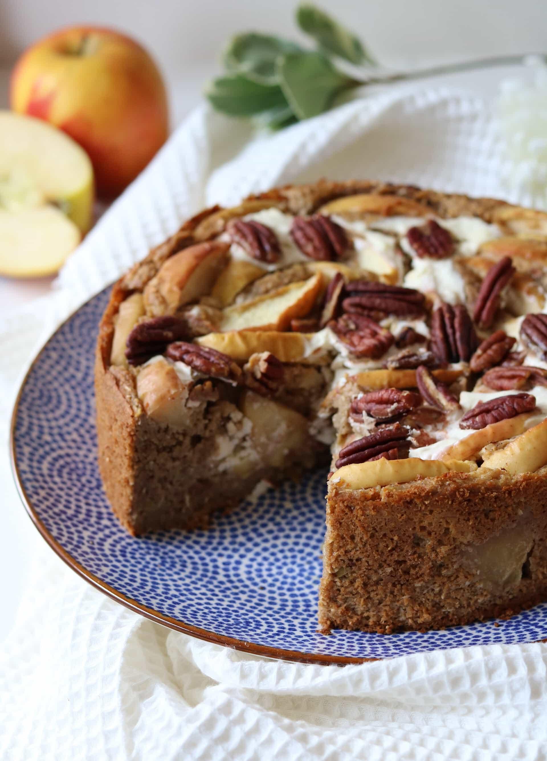 Gezonde appelcake met een frisse cheesecakevulling