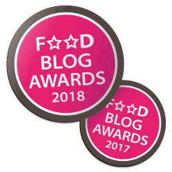 Winnaarsbadge Beste Blog Design 2018 en Beste Gerecht FoodBlogAwards