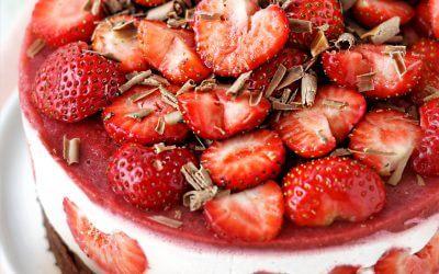 Glutenvrije Brownie & Aardbeien Cheesecake