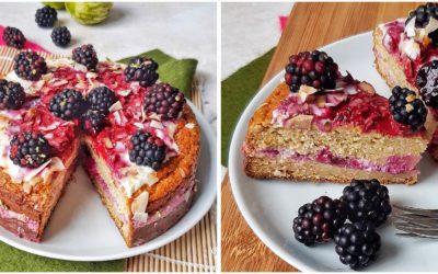 Glutenvrije taart met bramen, yoghurt met een vleugje limoen