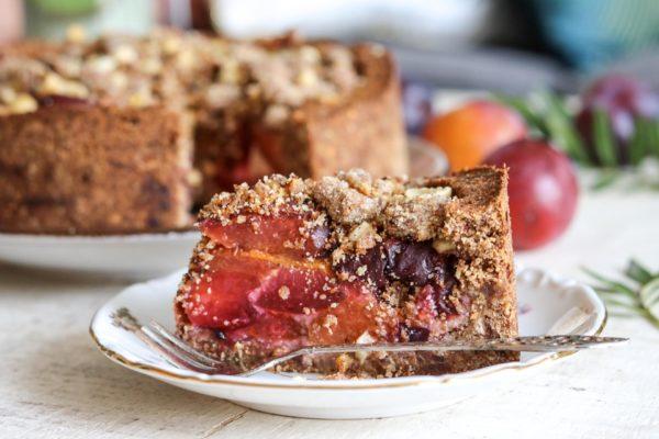 Glutenvrije pruimen-kruimeltaart